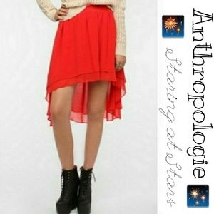 Anthropologie Red High Low Skirt